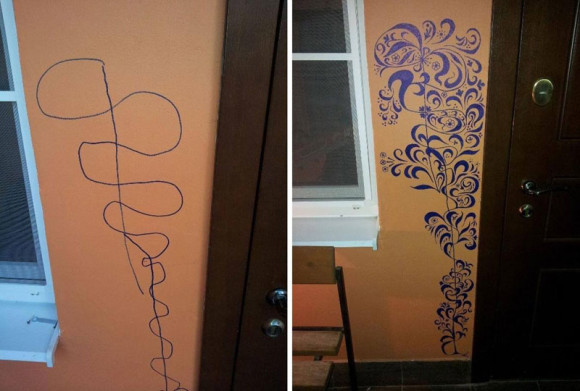 mother-improves-childs-scribble-on-wall