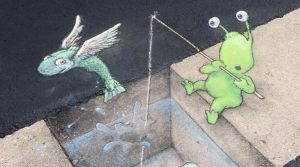 David Zinn Chalk Art On Street Ann Arbor