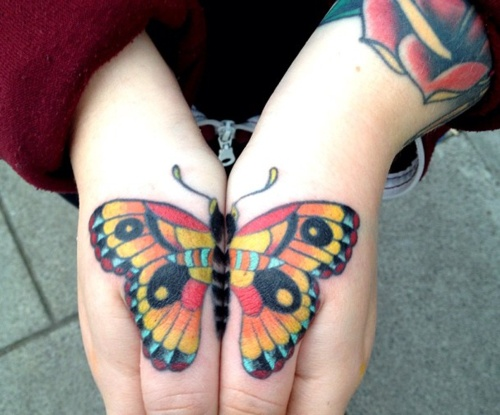 Hand tattoo colorful butterfly4