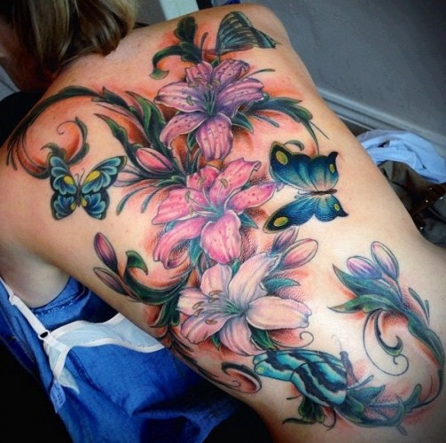 Lily-tattoo-on-back 10