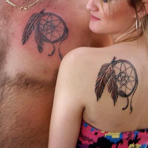 couple-feather-dream-catcher-tattoo4