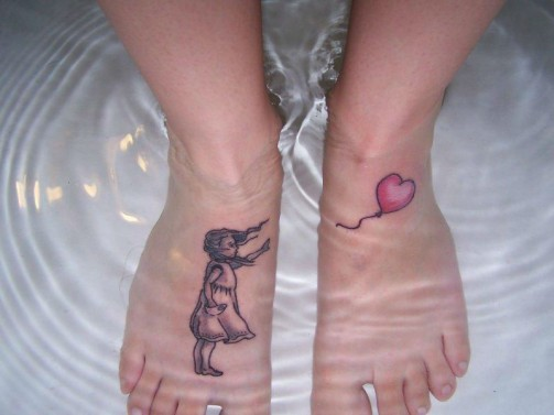 foot-tattoo of girl with balloon