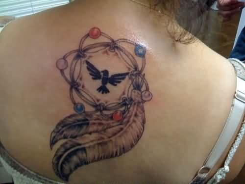 indian-dream-catcher-tattoo-on-back-for-girls10