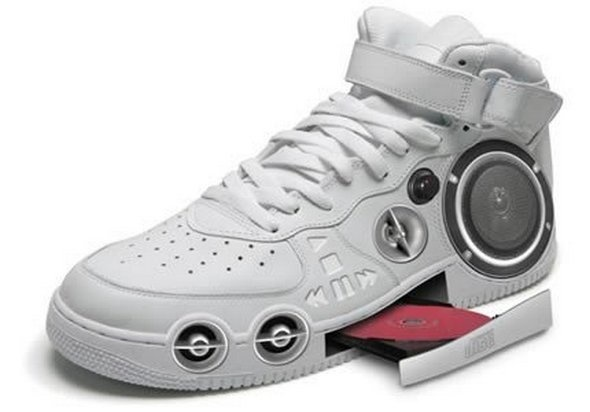 A sneaker with a built in CD stereo so you can have jams coming out of your steps.