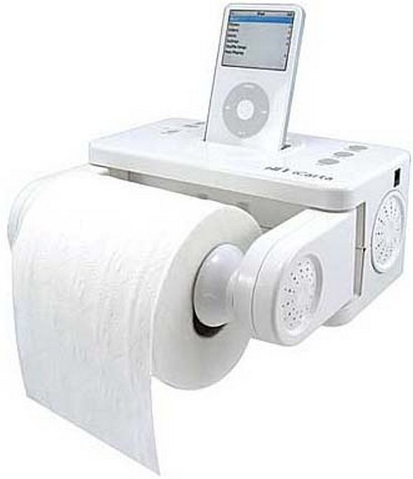 A toilet paper:iPod holder so you can listen to some tunes while doing the #1 or #2.